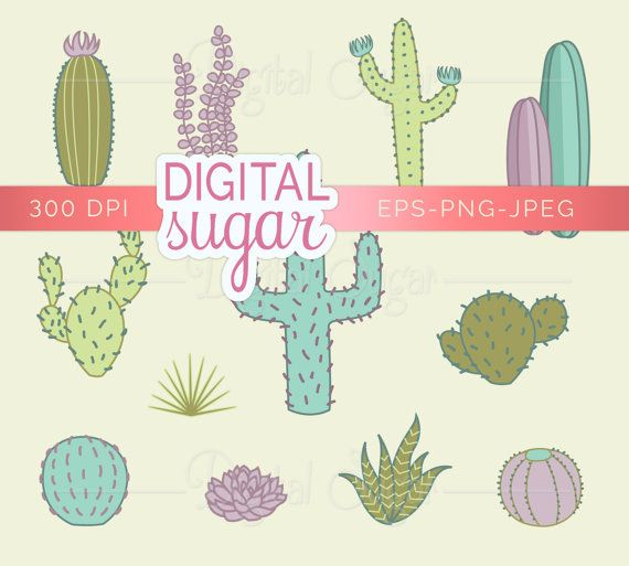 Cactus Nature Clipart, Succulent Plant Clip Art, Vector Clip Art.