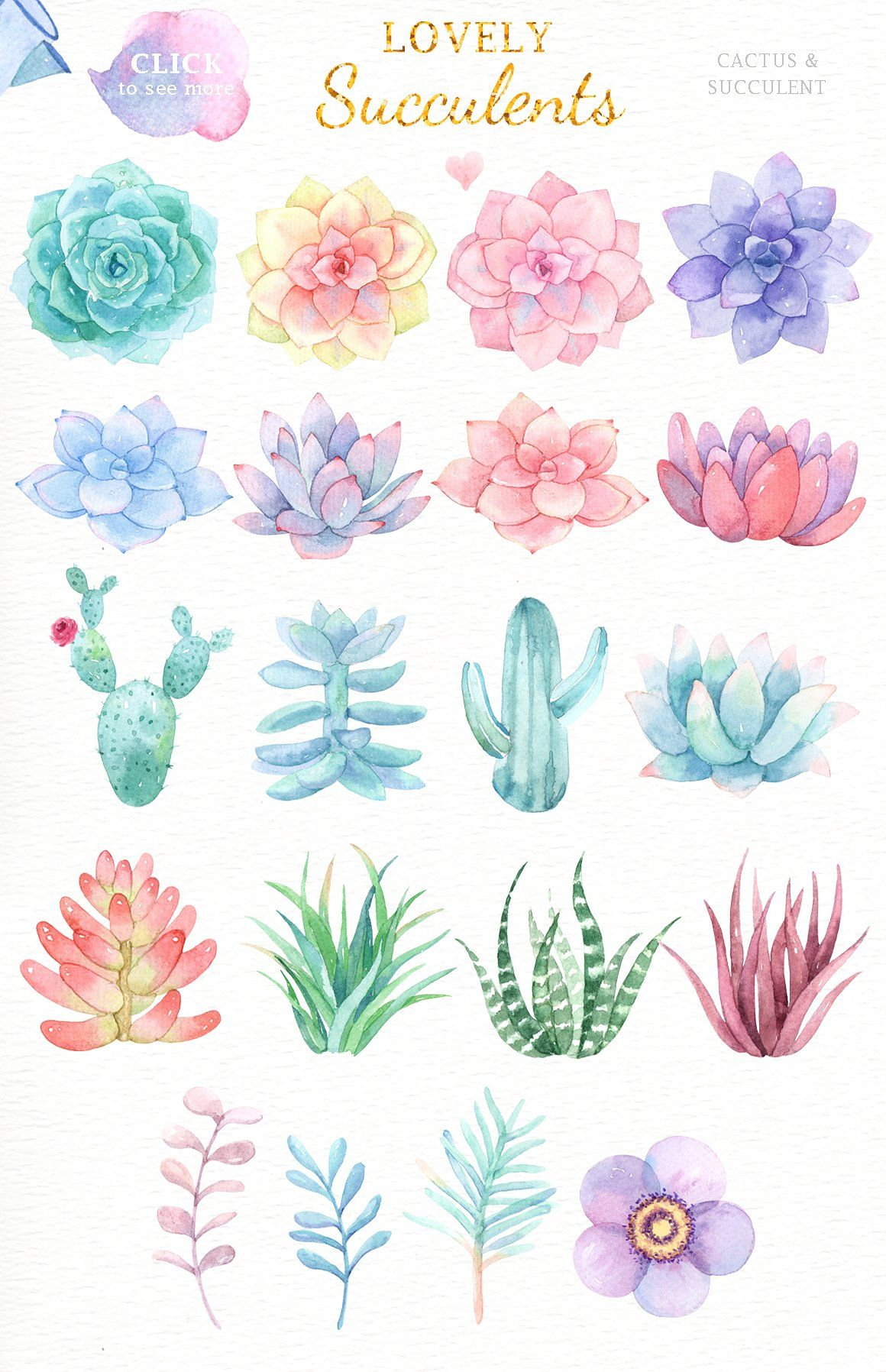 Lovely Succulents Watercolor Clipart by everysunsun #AD in.