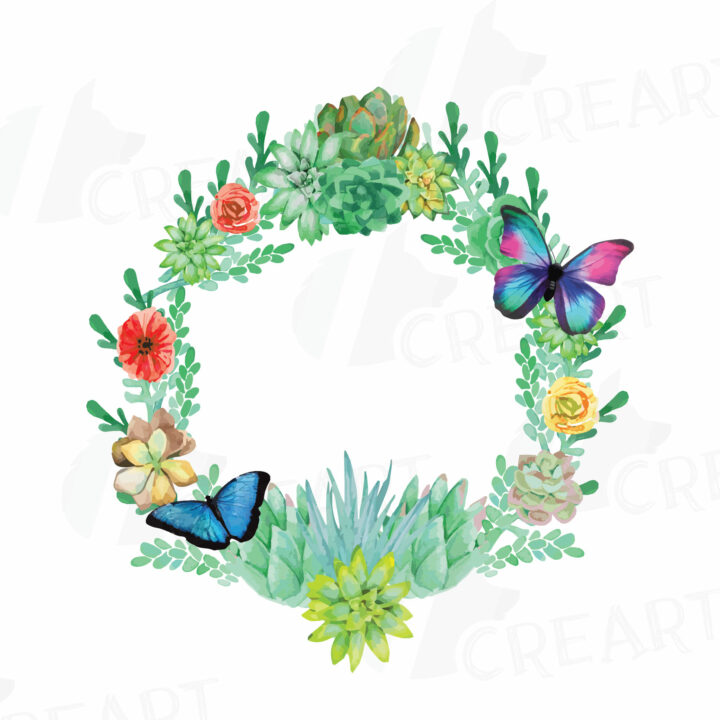 PNG Clipart Watercolor Succulent Wreath Valentine Clip Art.