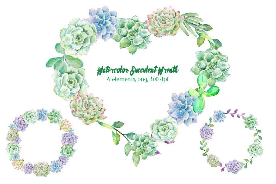 Watercolor Succulent Wreath.