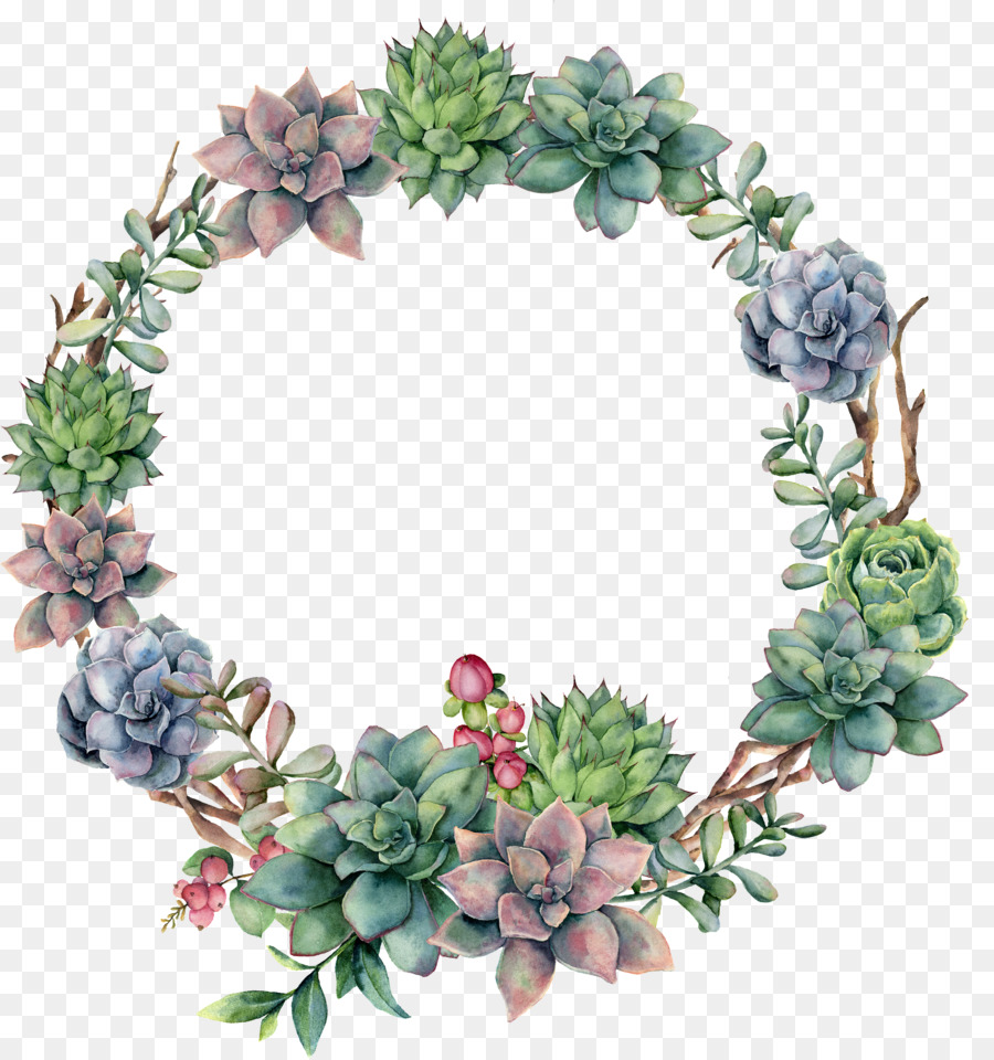 Watercolor Christmas Wreath png download.