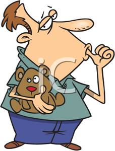 Cartoon of a Man Holding a Teddy Bear and Sucking His Thumb.
