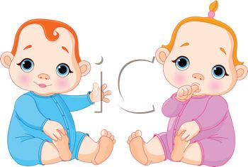 Royalty Free Clipart Image: Two little baby in sleepers, one.