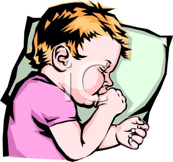 Royalty Free Clip Art Image: Child Sucking Thumb While Sleeping.