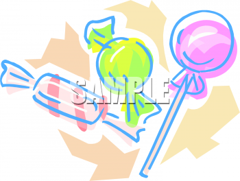 Two Hard Candies and A Lollipop Clipart Image.