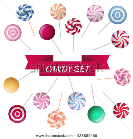 Vector Set Sucking Candy Round Sweets Stock Vector 428889451.