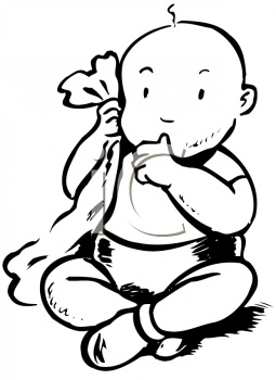 Baby sucking thumb and holding a security blanket.
