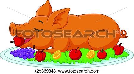 Clip Art of Cartoon drilled suckling pig on a p k25369848.