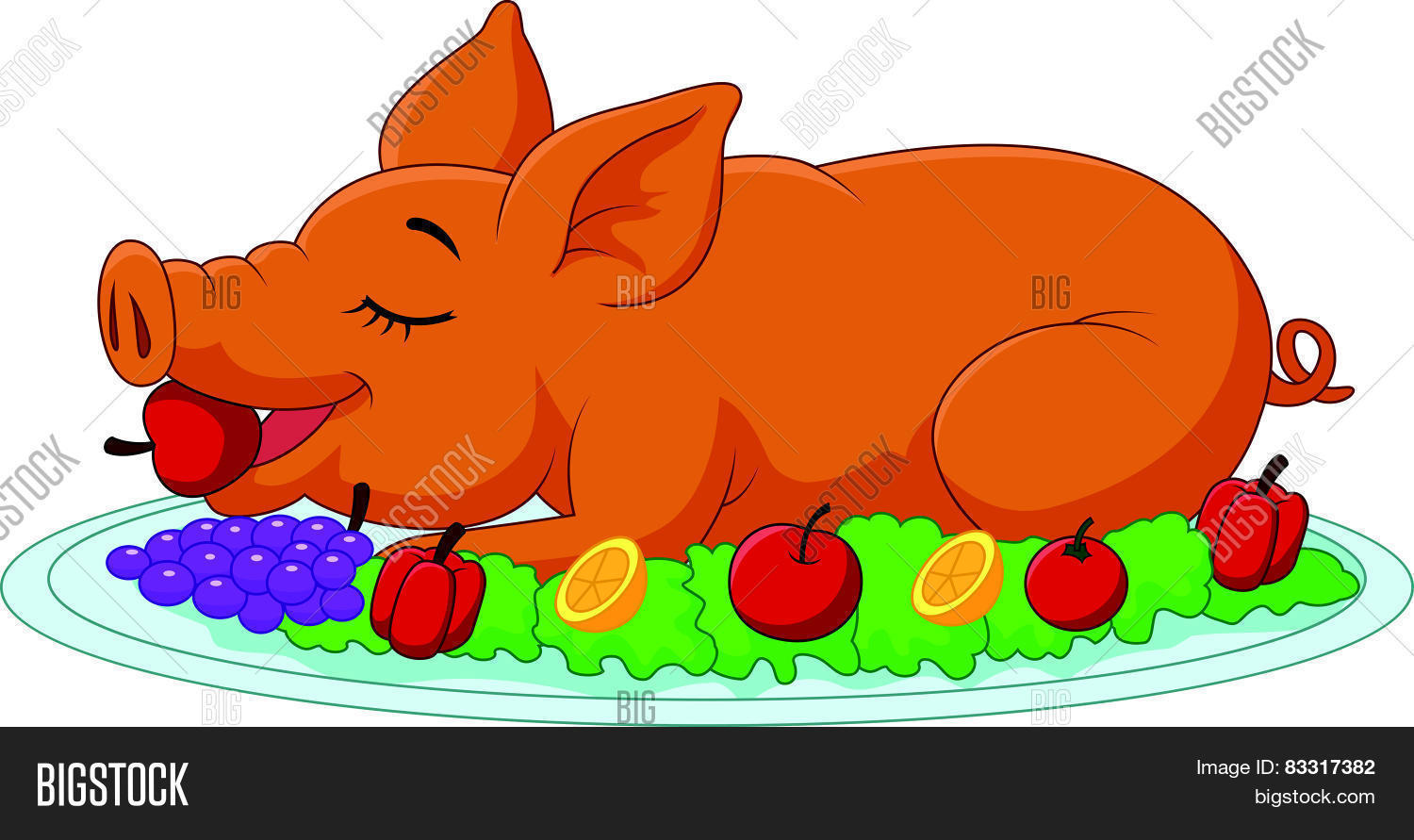 Cartoon drilled suckling pig on a plate Stock Vector & Stock.