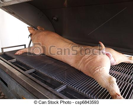 Stock Photos of Roasted pig grill BBQ.