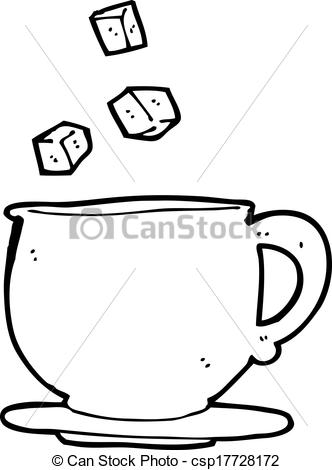 Vectors Illustration of cartoon teacup with sugar cubes.