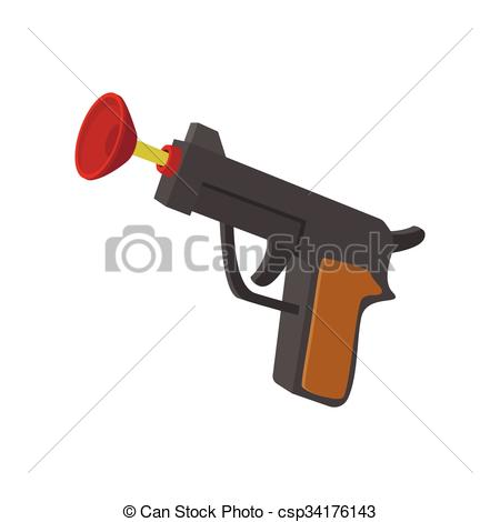 EPS Vector of Toy gun with suction cup cartoon icon on a white.