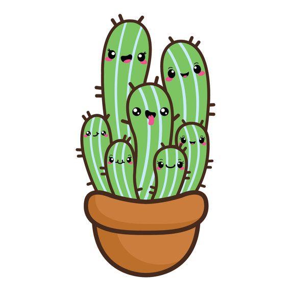 Kawaii cactus Clipart, imágenes prediseñadas suculentas.