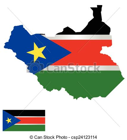 South Sudan National Flags Clipart.