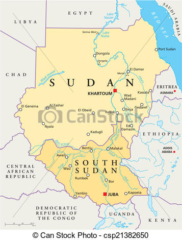 Clipart Vector of Sudan and South Sudan Political Map.