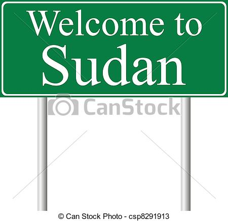 Vectors of Welcome to Sudan, concept road sign isolated on white.