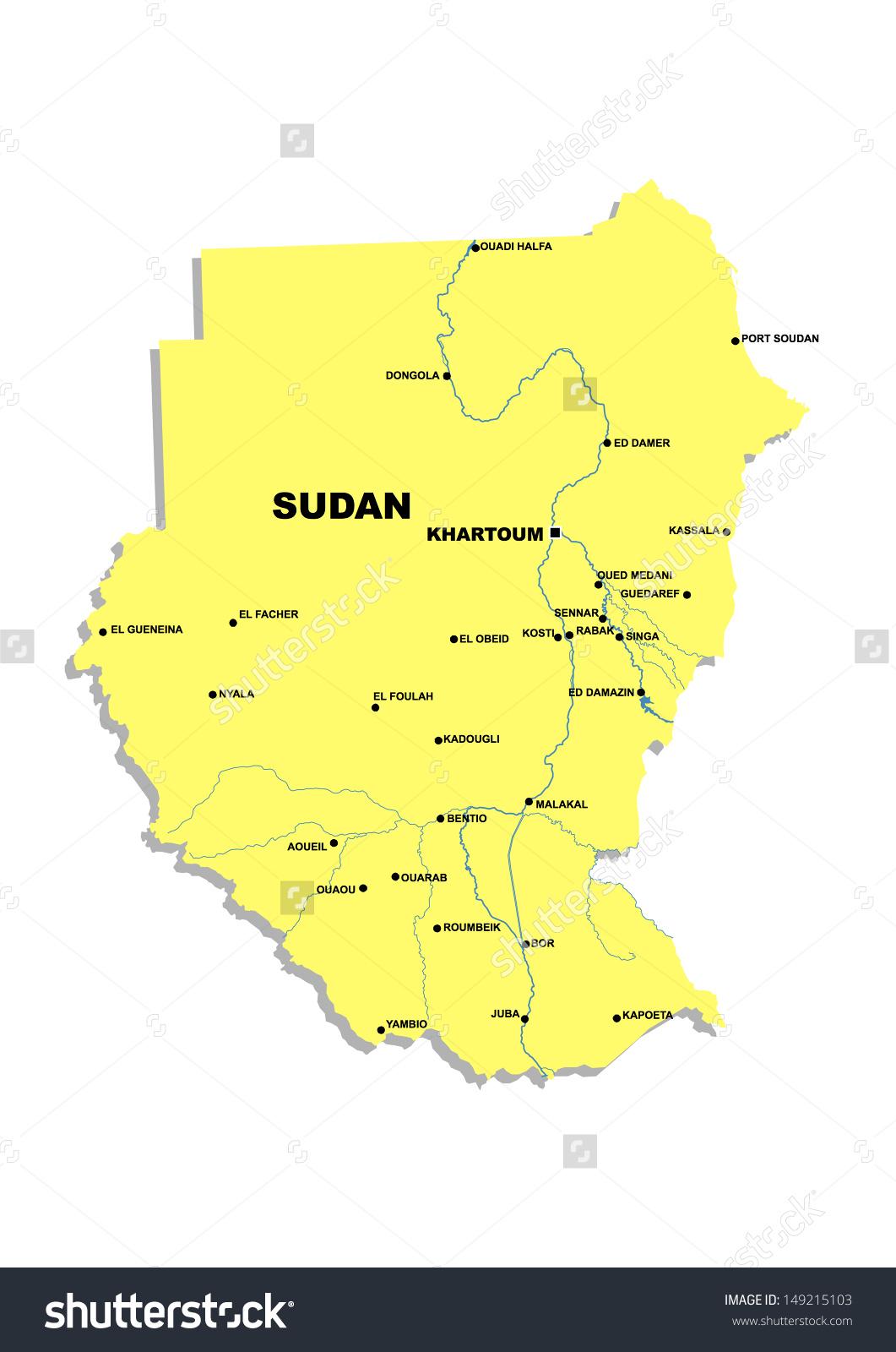 Simple Map Sudan Stock Illustration 149215103.