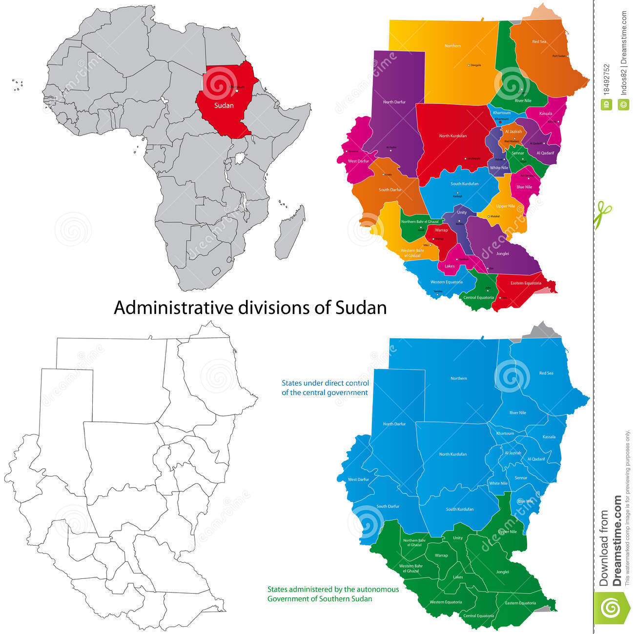Sudan Map Royalty Free Stock Images.