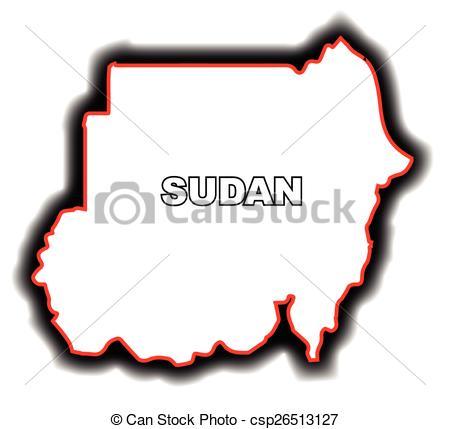 Vector Illustration of Outline Map of Sudan.