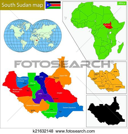 Clip Art of South Sudan map k21632148.