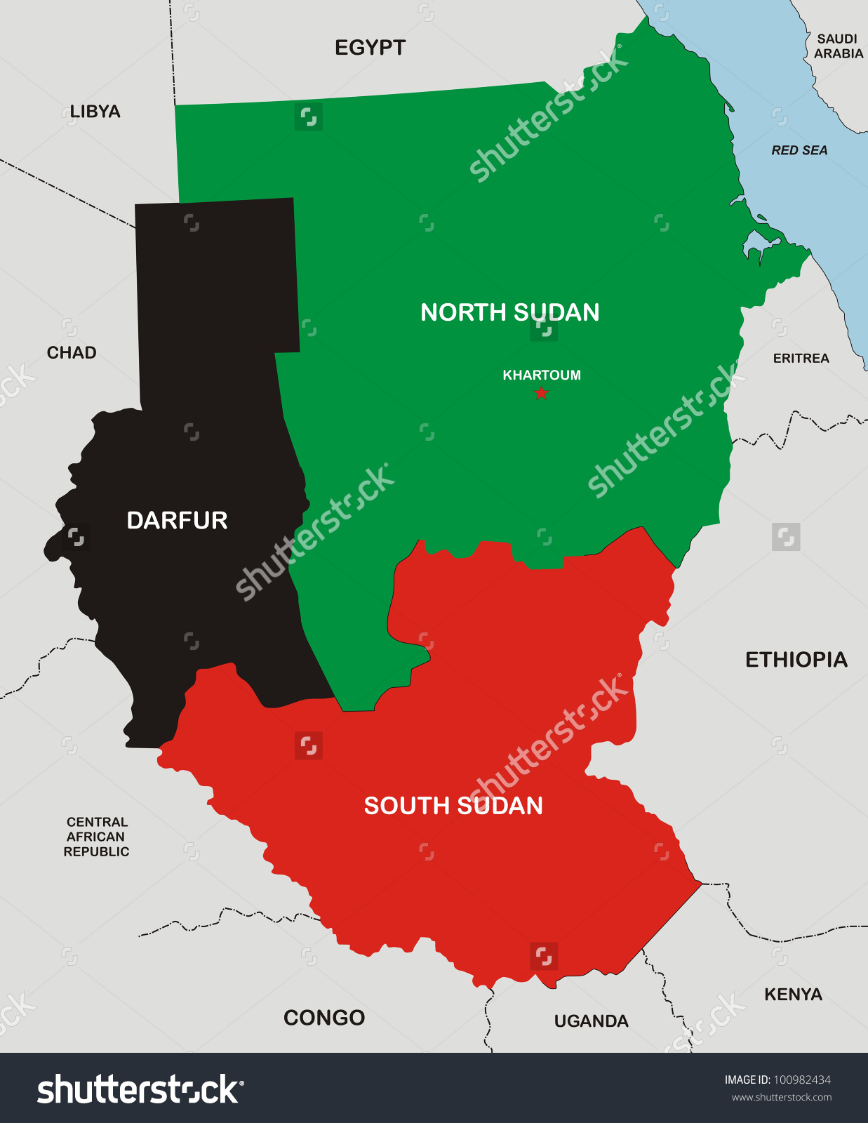 Very Big Size Political Map Sudan Stock Illustration 100982434.