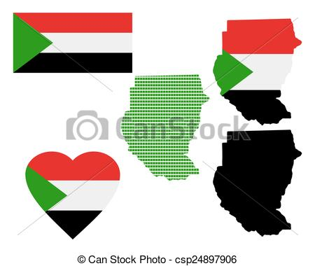 Vector Clipart of Map of the Republic of Sudan and the different.