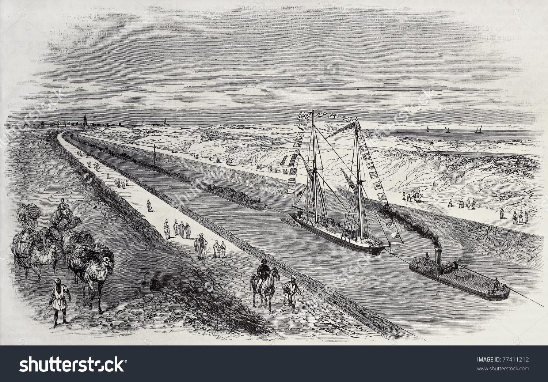 Antique Illustration Ship Convoy Sailing Through Stock Photo.
