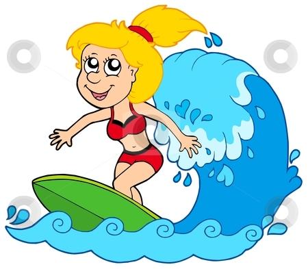 Cartoon surfers clipart.
