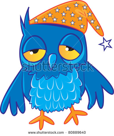 Tired Blue Owl Wearing Night Cap Stock Illustration 80889640.