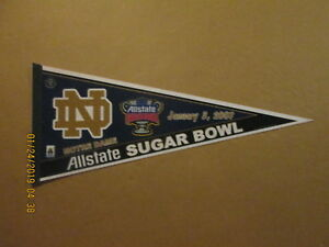 Details about NCAA Notre Dame Vintage 2007 Allstate Sugar Bowl Logo  Football Pennant.