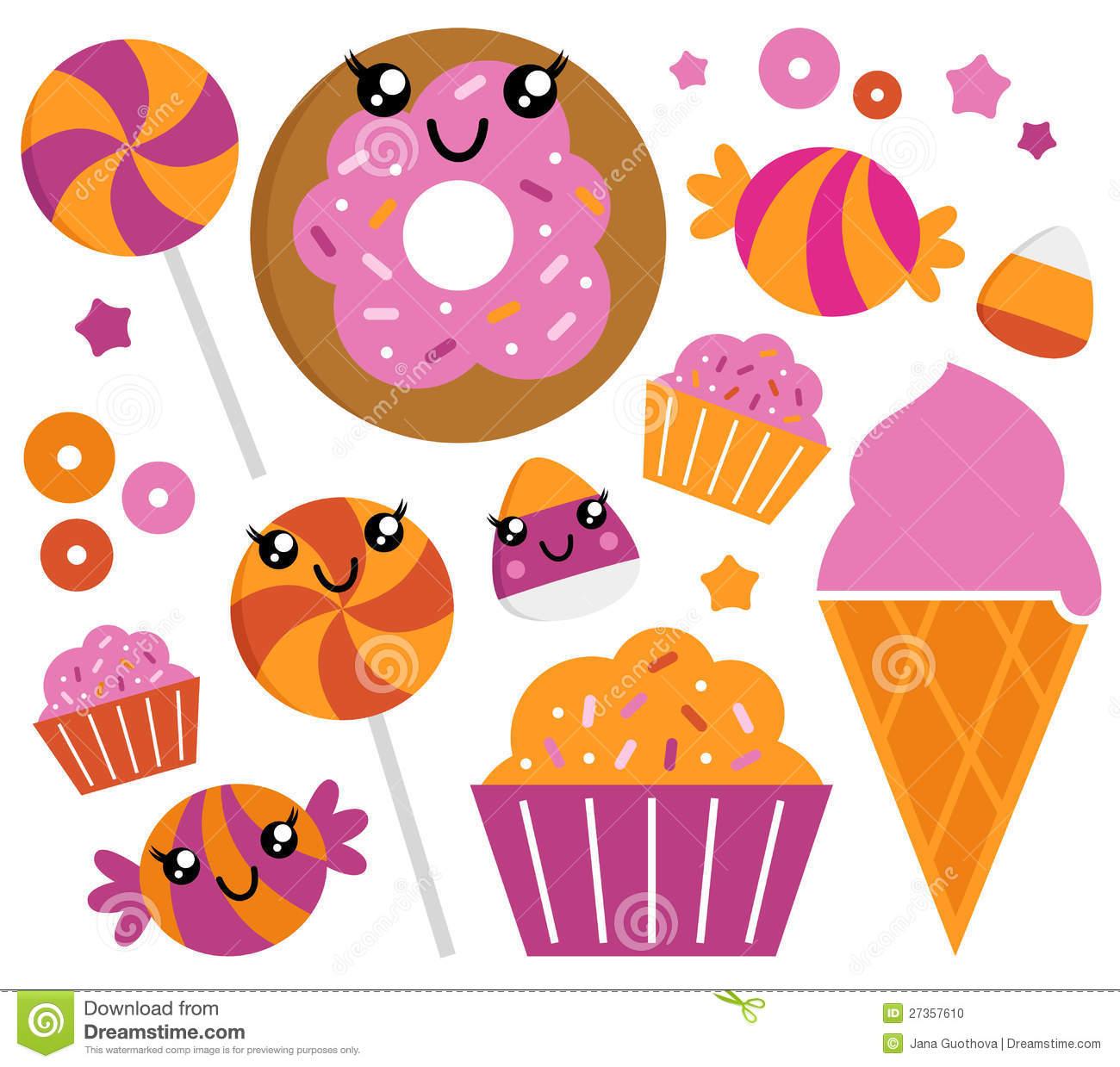 Cute Sugar Candy Set Stock Photo.