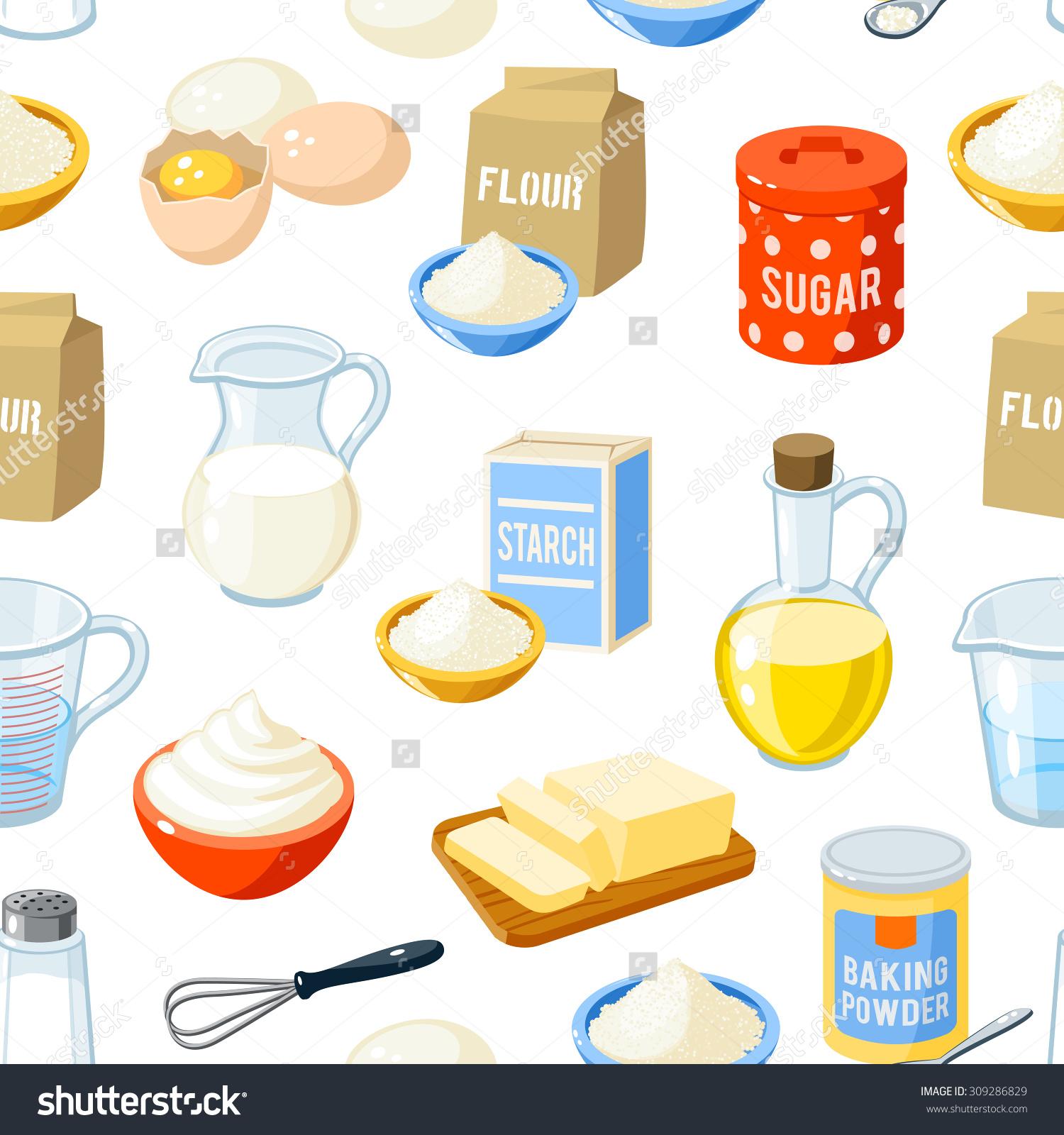 Seamless Pattern Cartoon Baking Ingredients Flour Stock Vector.