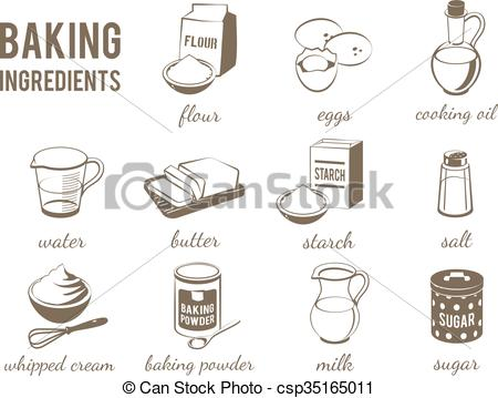 Vector Clip Art of Set of monochrome, lineart food icons: baking.