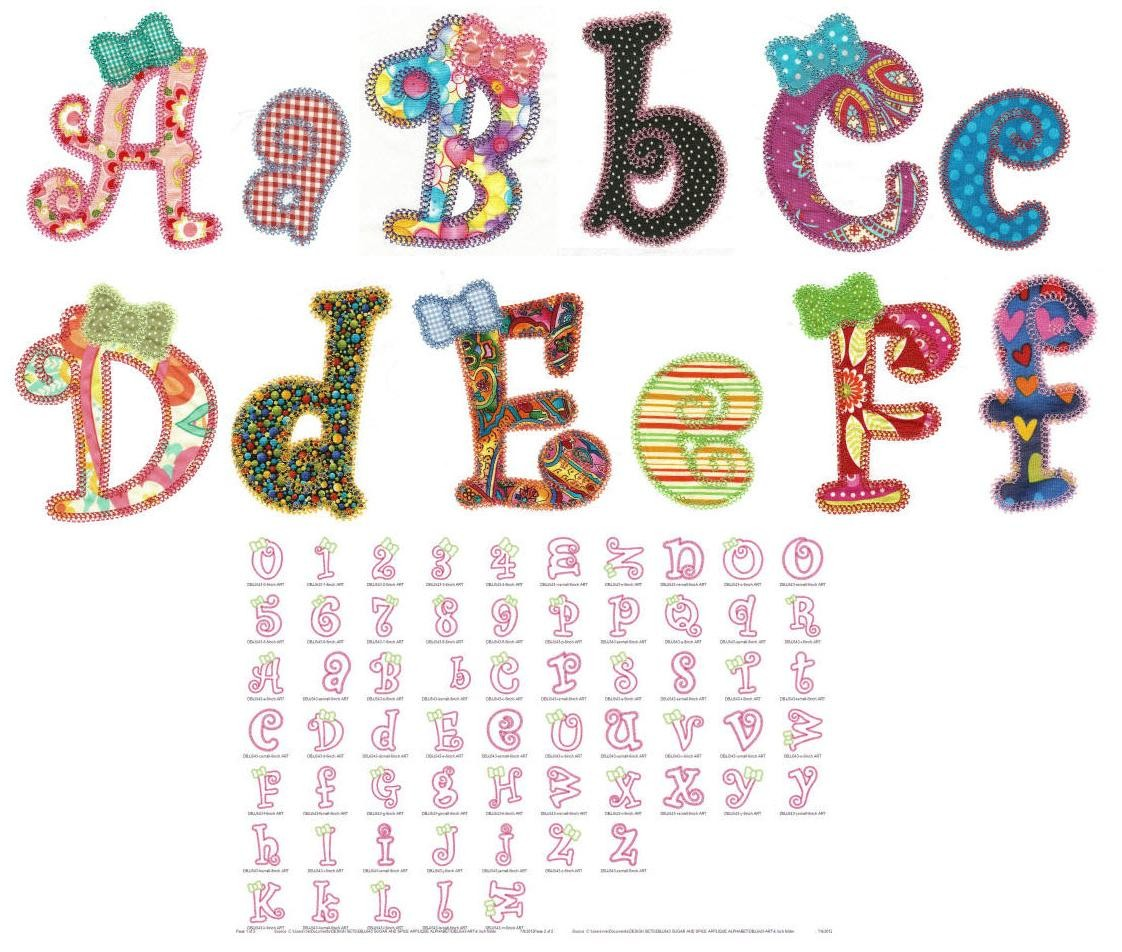 Girly Alphabet Applique Machine Embroidery Font.