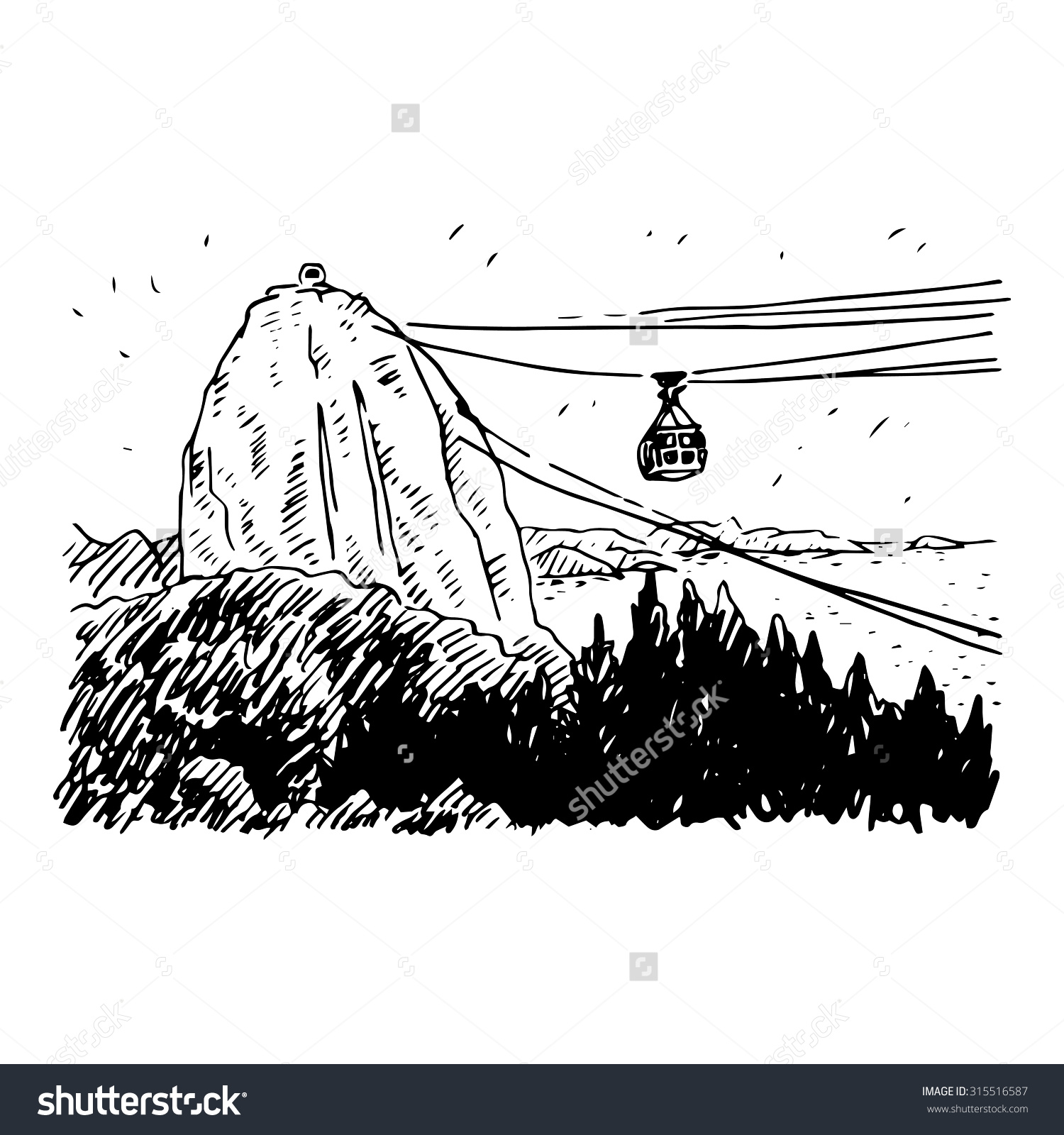Cable Car Line Sugarloaf Mountain Rio Stock Vector 315516587.