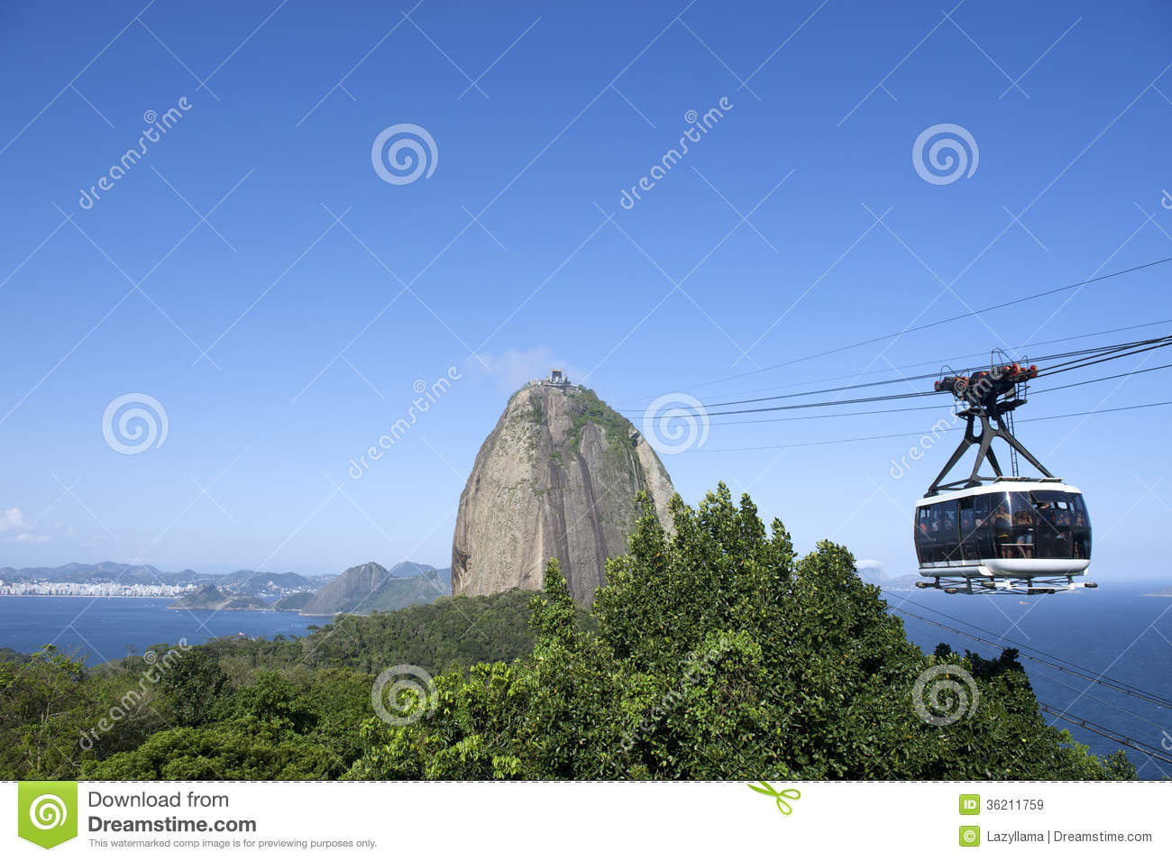 Sugarloaf Pao De Acucar Mountain Cable Car Rio Royalty Free Stock.