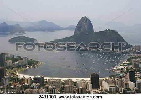 Stock Photography of Botafogo beach and Pao de Acucar, Sugar Loaf.