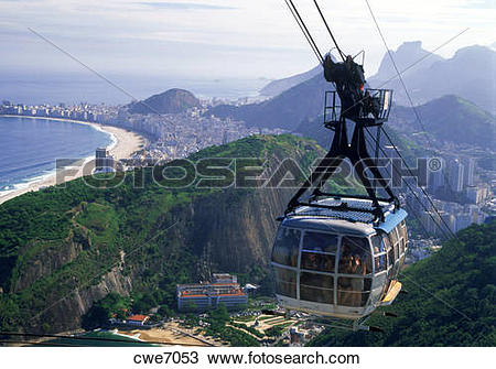 Stock Photo of Cable car riding to top of Sugar Loaf (Pao de.