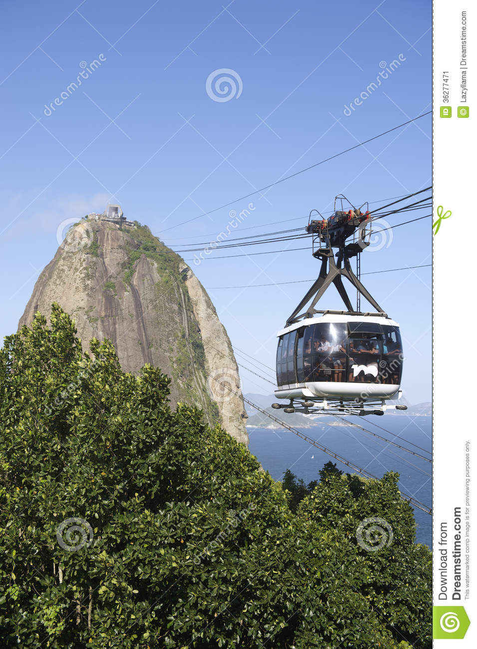 Sugarloaf Pao De Acucar Mountain Cable Car Rio Stock Image.