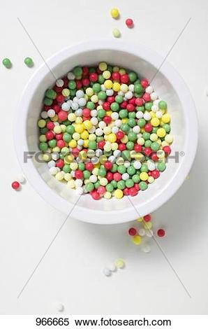 Stock Image of Coloured sugar pearls 966665.