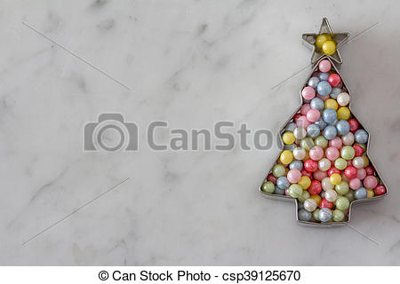 Picture of Christmas Tree Cookie Cutter with Sugar Pearls.