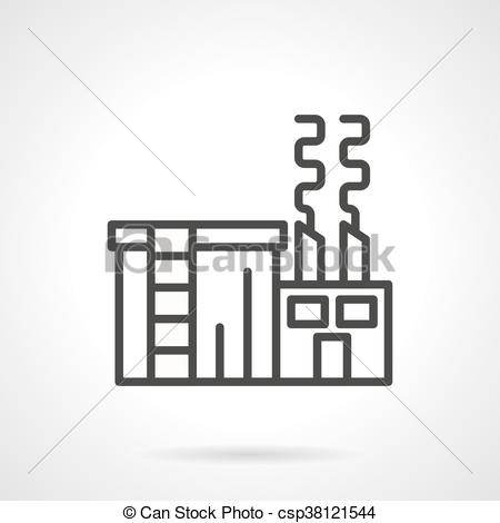 EPS Vector of Sugar factory black line vector icon.