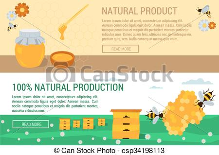 Vector Clip Art of Horizontal banners honey natural production.
