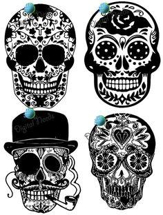 Sugar Skull Cat Clipart, Halloween Clip Art, Hipster Sugar Skull.