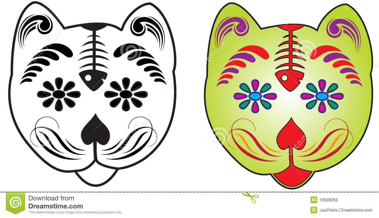 Sugar Skull Cat Clipart.
