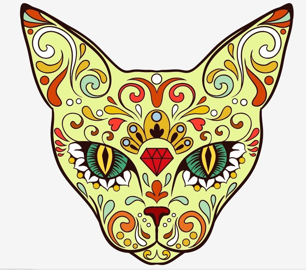 Animal cat Sugar Skull day of the dead sticker vinyl decal n37.