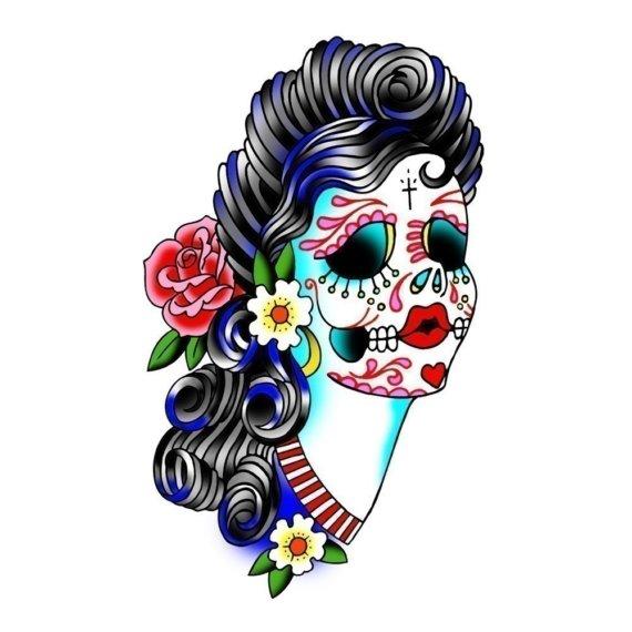 Sugar Skull Lady Print.