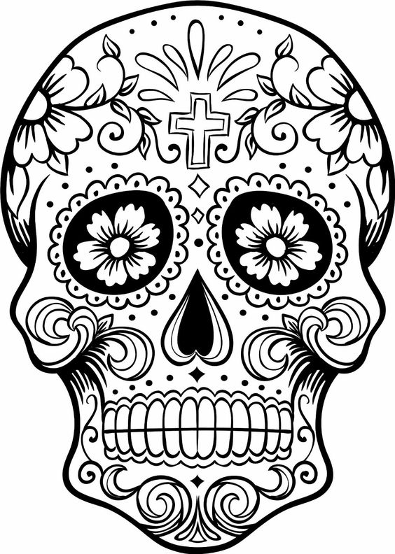 Psychedelic Skull Clipart Print.