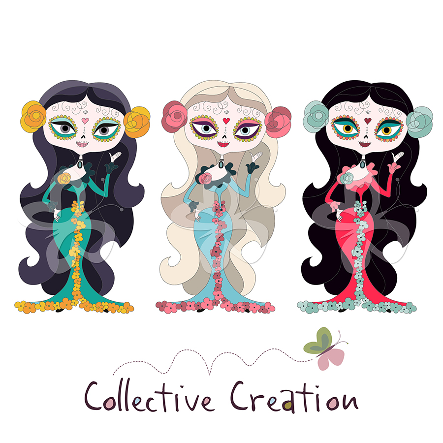Sugar Skull Girls Clipart Set.