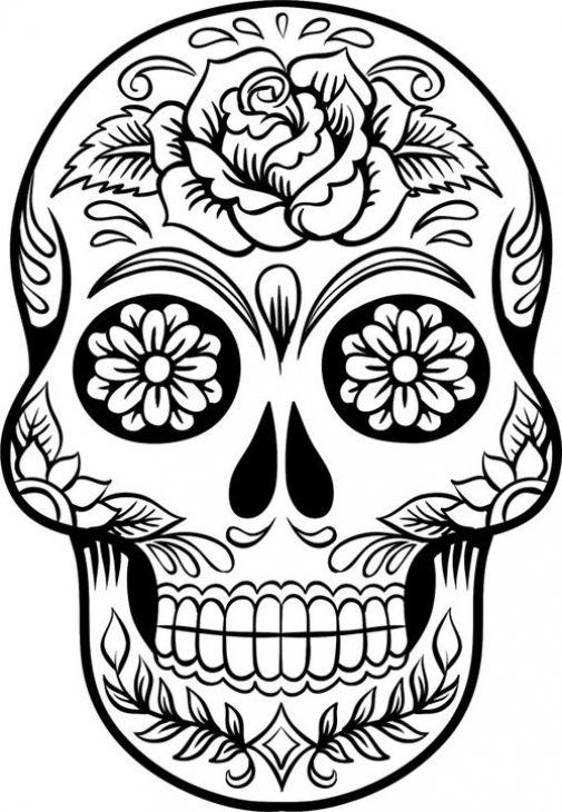 Sugar Skull Clipart Print.